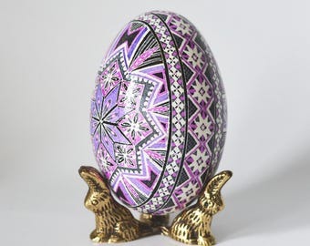 Smokey Gray and Purple fog subdued yet bright enough Goose egg Pysanka for one very special mom in the whole world gift that she will love