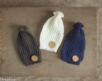 Baby Button Hat, Baby Hat, Baby Boy Hat, Beanie, Newborn Hat, Gray Hat, Navy Hat, Baby Photo Prop, Newborn Props, Baby Props, RTS