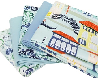 Bundle of 5 Prints in Sage and Slate Blue from the Grand Canal Collection with Coordinating Bella Solids, by Kate Spain for Moda