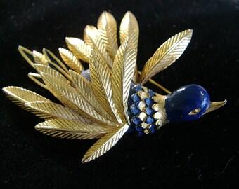 St Labre. Bird Brooch. Bird Pin. BIRD in Flight. gold-tone metal & blue enamel. PIN. BROOCH. vintage 1960s. 1970s.
