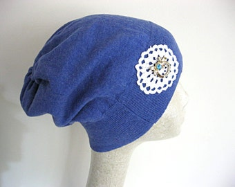 Bright blue slouch beanie, recycled sweater beanie, slouch hat, winter hat, cotton knit beanie, blue knit hat, blue beanie, lily whitepad