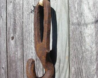 Antique Rusty Iron Farm Salvage Hooks Set/2 Old Rusty Iron Hook Hangers Repurposed Antique Farm Equipment Rustic Iron Home Decor Hanger Hook