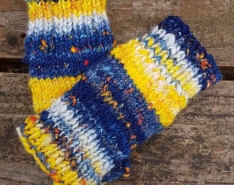 Dr Who, Tardis themed, Allons-y, cosplay, hand spun, hand knitted 7 inch long, fingerless gloves, texting gloves, medium size