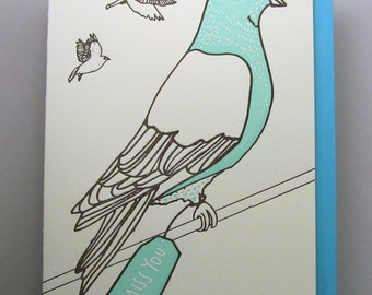 "Letterpress card,  ""Pigeon Thinking of You"""