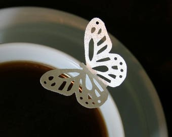 edible wafer paper butterflies, 100 wafer Elegant Monarch Butterflies in Gold, Silver or Pearl colors