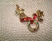 Guardian Angels Christmas Wreath Pin.