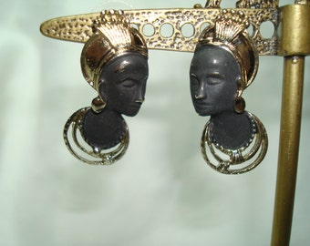 1980s African Nubian Princess Queens Black and Gold Earrings.
