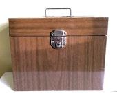 Vintage Metal File Box, Brown Faux Wood, Paper Storage, Vintage Office, Industrial Decor