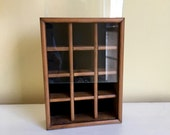Vintage Display Box Case, Wood with Glass, Small Cubbies, Miniature Collectible Box