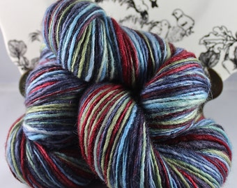 Handspun Yarn Gently Thick and Thin DK Single Blue Faced Leicester  'Courtly Frogs'