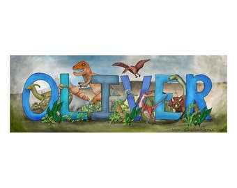 Personalized Child Name Sign - Dinosaur Theme