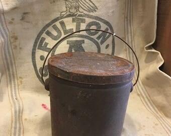 Industrial rustic metal bucket