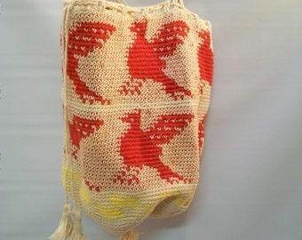 Authentic Mochila Wayuu Bucket bag, Medium Sized Woven Bag, Guatemalan Mochila Tote, Fine Thread Woven Bag, vintage
