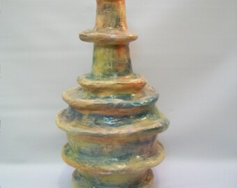 Handmade Altered Bottle/Vase, Paper Mache Bottle Art, Unique Bottle/Vase, Art Decor, Decorative Bottle, Decorating Crafts, Home and Living
