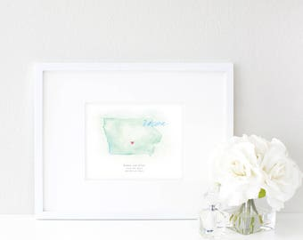 Iowa Watercolor Map | Destination Map Print | Personalized Watercolor Map | Honeymoon Map | Anniversary Map | Watercolor Wedding Map