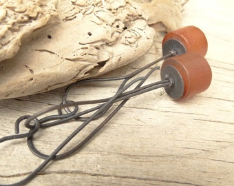 Natural Carnelian Cylinder Rustic Copper Earrings