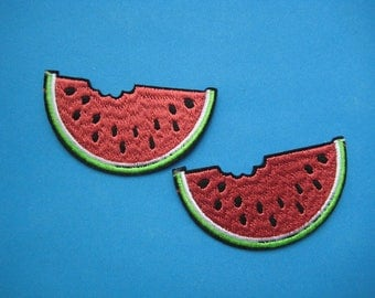2 pcs Iron-on Embroidered Patch Watermelon 2.75 inch