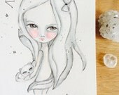 Girl and cat illustration - black and white art, girl and cat art, watercolor painting, ink, Sagittarius constellation, cat lovers, sweet
