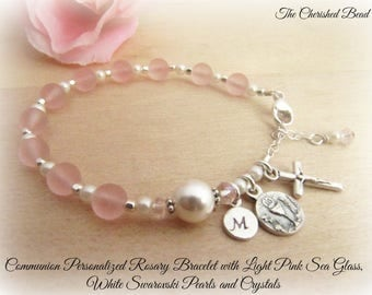 Pink Sea Glass, Swarovski Pearl and Crystal Personalized Communion Rosary Bracelet - Sea Glass Rosary - Girls Communion - Rosary Bracelet