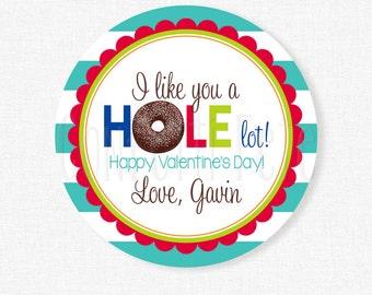 Like You a HOLE Lot Valentine Tag, Donut Valentine Tags, Donut Hole Valentines, Boy Valentine Tags, Personalized
