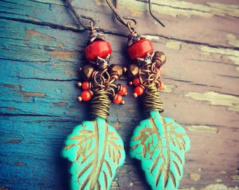 Ox Copper And Turquoise Leaf Earrings