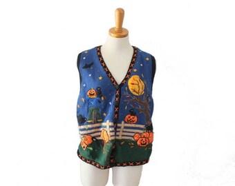 60% off sale // Vtg 90s Halloween Sweater Vest // Women Large // Harvest Pumpkins