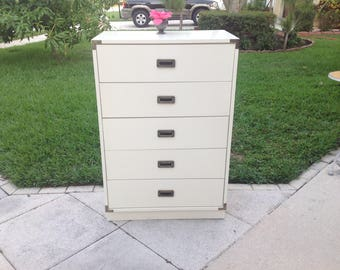 Hollywood Regency Campaign Style Chest / Campaign Style Tall Dresser / 5 drawers / Palm Beach Chic On Sale at Retro Daisy Girl