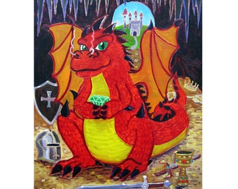 Red Dragon Oil Painting, Fairy Tales Art, Decor for Boys Room, Fantasy Painting, Art for Child's Room, Cute Baby Dragon, Castle and Treasure