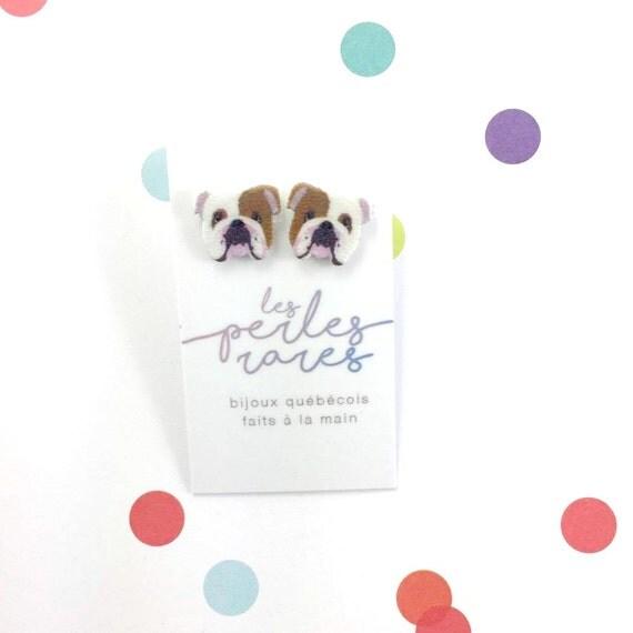 English bulldog, dog earring, white, brown, small, dog, hypoallergenic, plastic, stainless stud, handmade, les perles rares