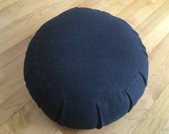 meditation cushion out of navy blue denim fabric