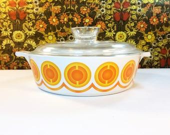 Vintage Pyrosil Casserole Dish Orange Small 1 Litre with Lid 1970s Netherlands Retro Mid Century Ovenware