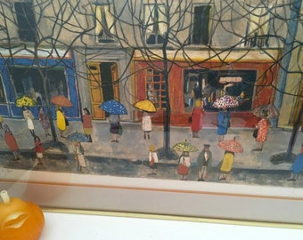 UMBRELLAS ART SIGNED and Numbered, Cityscape and Umbrellas, Modern Art, Mid Century, European Art at Modern Logic
