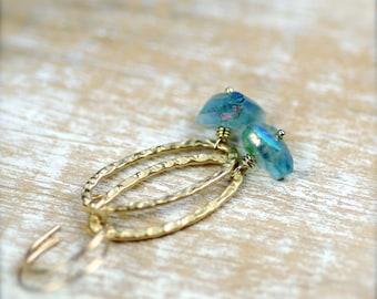 Mystic Fluorite Gemstone Earrings Gold Filled
