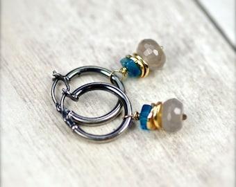 Grey Agate and Apatite Gemstone Earrings Oxidized Sterling Silver.  Simple Hoops and Gemstones.  Simple Hoop Earrings
