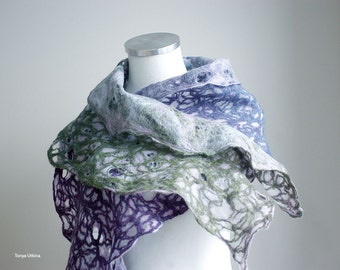 Lace scarf light and airy with holes in blue, purple, green