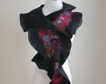 Hand felted ruffled scarf, wool and silk, bright folk pattern, black