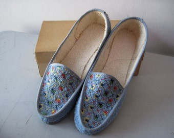 Vintage NOS Boys 1950s embroidered terrycloth Slippers