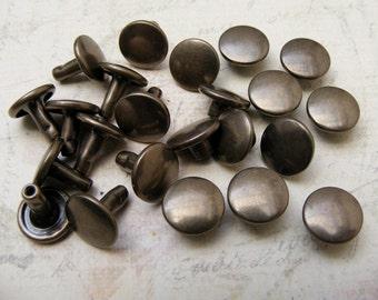 100 sets double cap 9mm antique brass FLAT Round Rapid Rivet Stud / japanese rivet