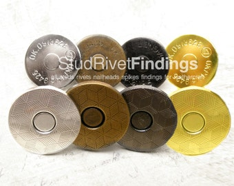 High Qaulity 10 sets 18 mm Silver Magnetic Snap Closure / Extra Thin with pattern