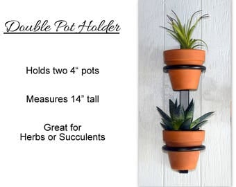 "Hanging planter, indoor herb garden, Hanging herb garden, fixer upper inspired herb garden, Double plant holder holds two 4"" pots"