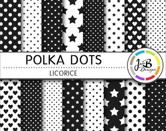 Polka Dots Digital Paper, Licorice, Black, White, Dots, Hearts, Stars, Digital Paper, Digital Download, Scrapbook Paper, Digital Paper Pack