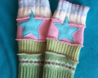 Recycled Wool Arm Warmers Fingerless Gloves 12+ years