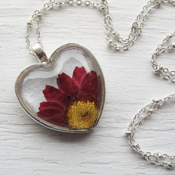Valentine's Day Real Pressed Flower Necklace - Silver and Maroon Daisy Heart Necklace