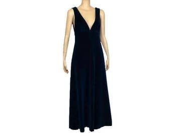 S Take The Plunge, Vintage 70's Blue Maxi Dress, Plunging Neckline, Small
