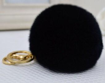 Fur Rabbit Pompom Car Keychain Purse Pendant Bag Accessory Backpack Charm  Rabbit Fur Key Ring