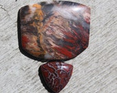 Brecciated Jasper and dinosaur bone fossil cabochon, red black and brown with white quartz vein, natural stone cabochon for jewelry making
