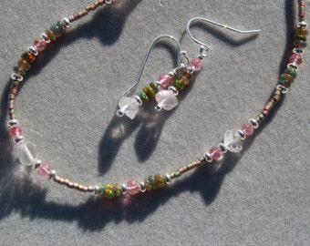 Rose quartz with welo opal & pink topaz necklace and earrings set by EvyDaywear, one of a kind only handmade designer jewelry,natural stones