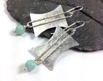 Blue amazonite and silver tribal earrings