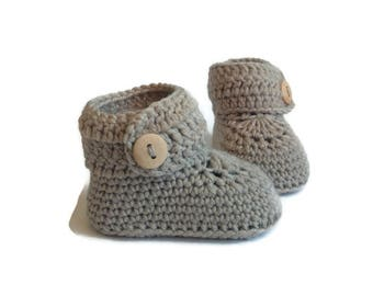 Gray Baby Booties, Knitted Baby Booties, Knit Baby Booties, Crochet Baby Booties, Merino Wool, Baby Shower Gift by Warm and Woolly on Etsy
