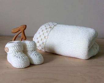 knitted baby gift set, white baby blanket, white baby booties, knitted baby shower gift, merino wool baby knits by Warm and Woolly on Etsy